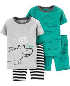 Toddler Boys Hippo Snug Fit Pajamas, 4 Piece