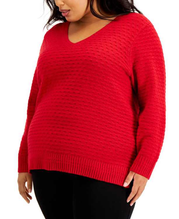 Plus Size Textured V-Neck Sweater