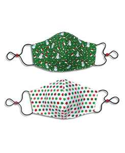 Adult Cotton Reversible Santa Hat Cone Face Mask, 2 Pack