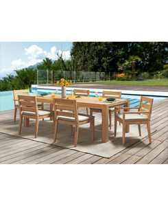 "Willison Teak Outdoor 7-Pc. Dining Set (96"" x 42"" Rectangle Dining Table, 4 Dining Chairs & 2 Dining Arm Chairs) with Sunbrella Cushions, Created for Macy's"