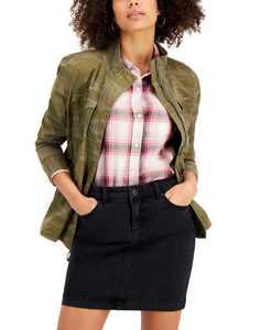 Petite Camo-Print Twill Jacket, Created for Macy's