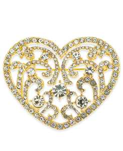 Gold-Tone Crystal Filigree Heart Pin, Created for Macy's
