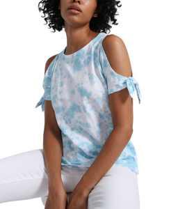 Lou Lou Tie-Dyed Cold-Shoulder T-Shirt