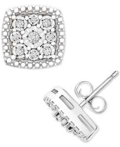 Diamond Cushion Cluster Stud Earrings (1/10 ct. t.w.) in Sterling Silver