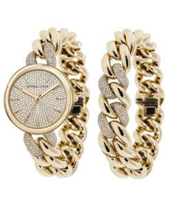 Women's Gold Tone and Crystal Chain Link Stainless Steel Strap Analog Watch and Bracelet Set 40mm