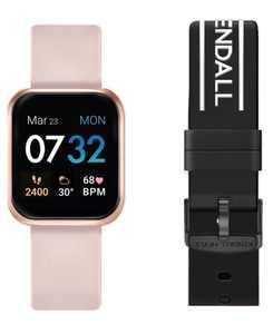 Women's Blush and Black Logo Straps Smart Watch Set 36mm