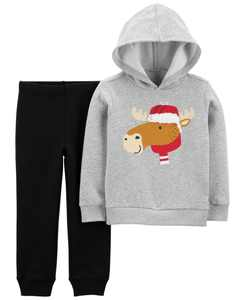 Toddler Boys Moose Hoodie and Jogger Set, 2 Piece