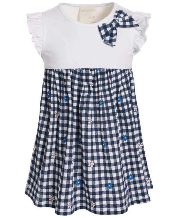 Baby Girls Gingham Flower Cotton Dress, Created for Macy's