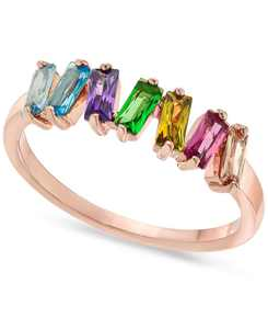 Rose Gold-Tone Multicolor Baguette-Crystal Ring, Created for Macy's