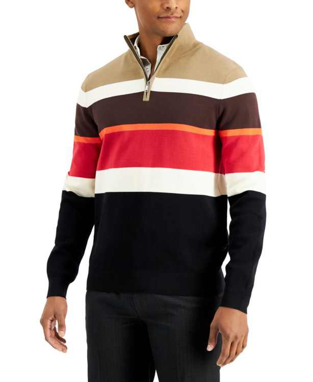 Men's Striped Quarter-Zip Sweater