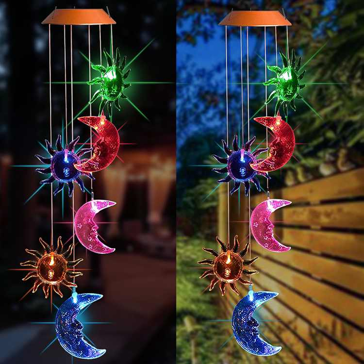 26 inch Solar Changing Color Wind Chime Outdoor Indoor, LED Solar Powered Sun and Moon Wind Chime Light, Colorful LED Decorative Hanging Lamp Wind Chime for Outdoor Indoor Garden Patio Yard