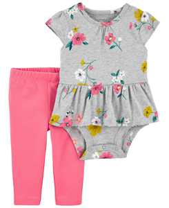 Carters Baby Girl 2-Piece Peplum Bodysuit Pant Set