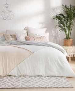 Peri Color block Fringe Comforter Set, King
