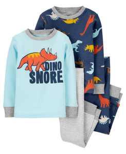 Carters Toddler Boy  4-Piece Dino Snore 100% Snug Fit Cotton PJs