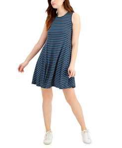 Petite Striped Sleeveless Mini Dress, Created for Macy's