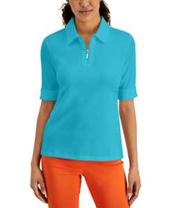 Zip-Neck Cotton Polo Top, Created for Macy's