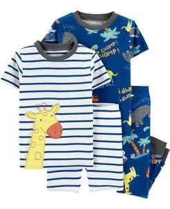 Toddler Boys Giraffe Snug Fit Pajamas, 4 Piece