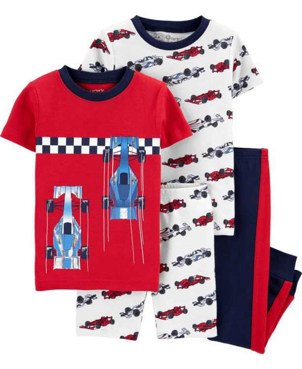 Toddler Boys Race Car Snug Fit Pajamas, 4 Piece