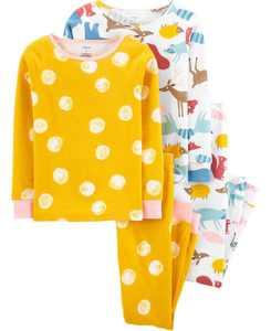 Big Girls Animals Snug Fit Pajamas, 4 Piece