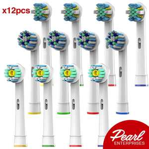 Pearl Enterprises Replacement Brush Heads Compatible With Oral B - Pack of 12 Electric Toothbrush Assorted Heads Refill Fits Oralb Braun and More