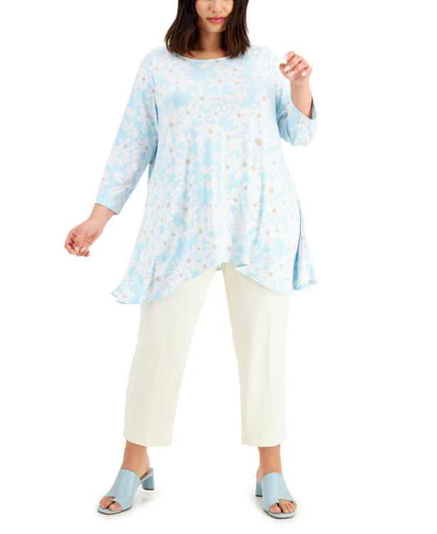 Plus Size Floral-Print Knit Top, Created for Macy's