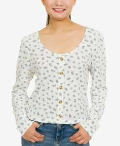 Juniors' Pointelle-Knit Button-Trimmed Floral Top