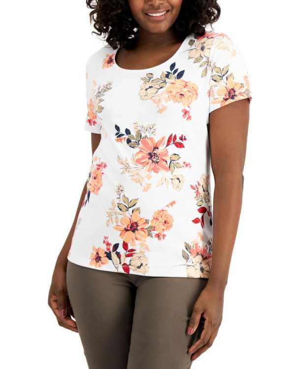 Bouquet Spray Printed Top, Created for Macy's