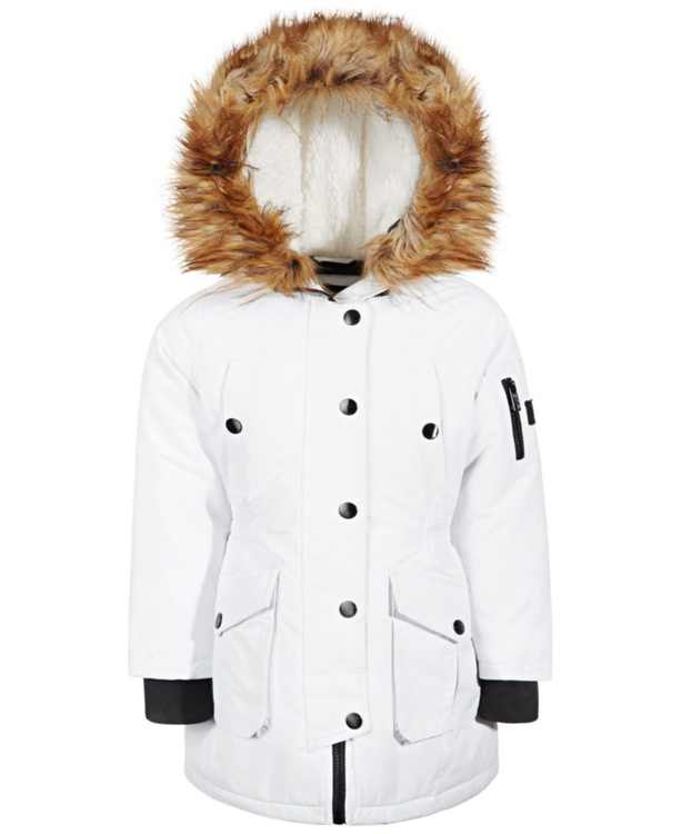 Big Girls Hooded Parka with Faux-Fur Trim