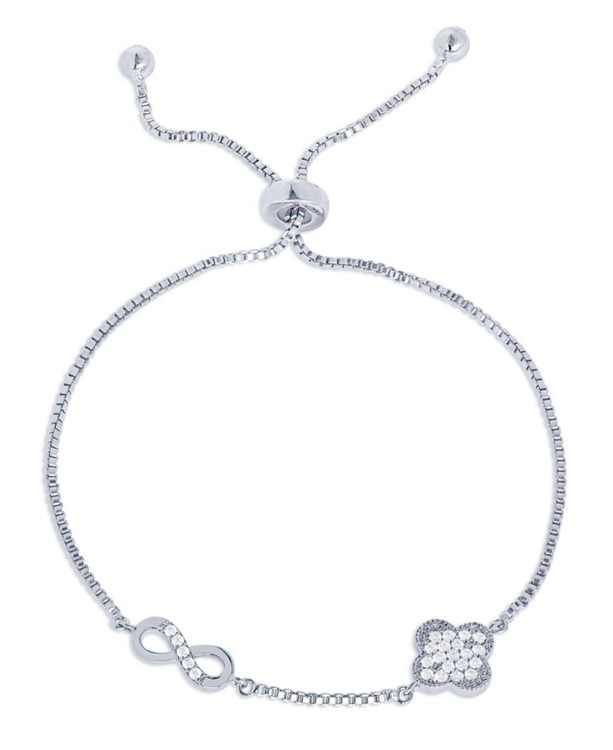 Cubic Zirconia Clover Infinity Adjustable Bolo Bracelet in Fine Silver Plated