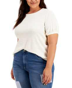 Plus Size Textured Short Sleeve Top, Created for Macy's
