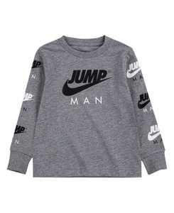 Big Boys Long Sleeve Jump Man Triple Threat Logo Graphic T-shirt