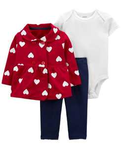 Baby Girl Valentine's Day 3-piece Cardigan Set