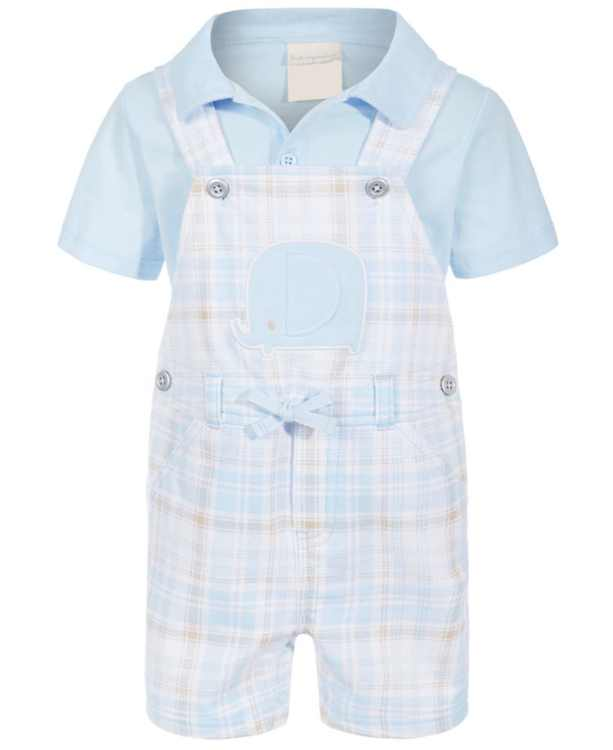 Baby Boys 2-Pc. Elephant Shortall Set, Created for Macy's
