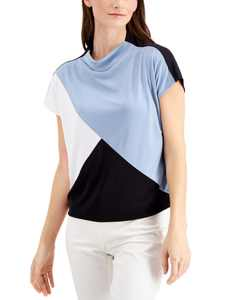 Colorblocked Mock-Neck Top, Created For Macy's