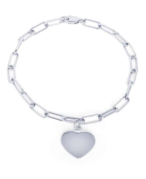 Cubic Zirconia Paperclip Link Heart Bracelet in Fine Silver Plate