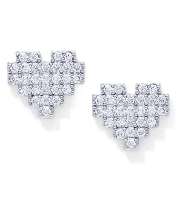 Cubic Zirconia Heart Stud Earrings in Fine Silver Plate