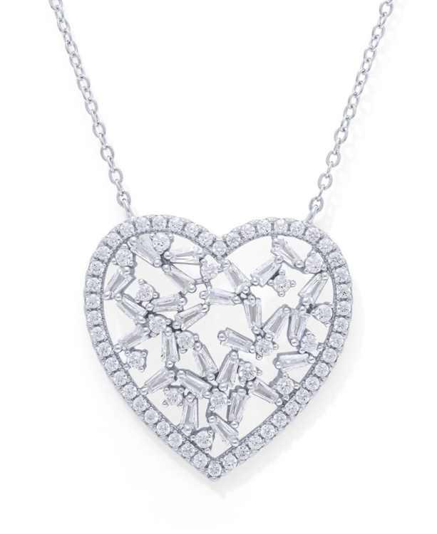 Cubic Zirconia Heart Necklace in Fine Silver