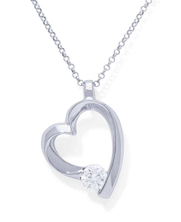 Cubic Zirconia Heart Pendant in Fine Silver Plate