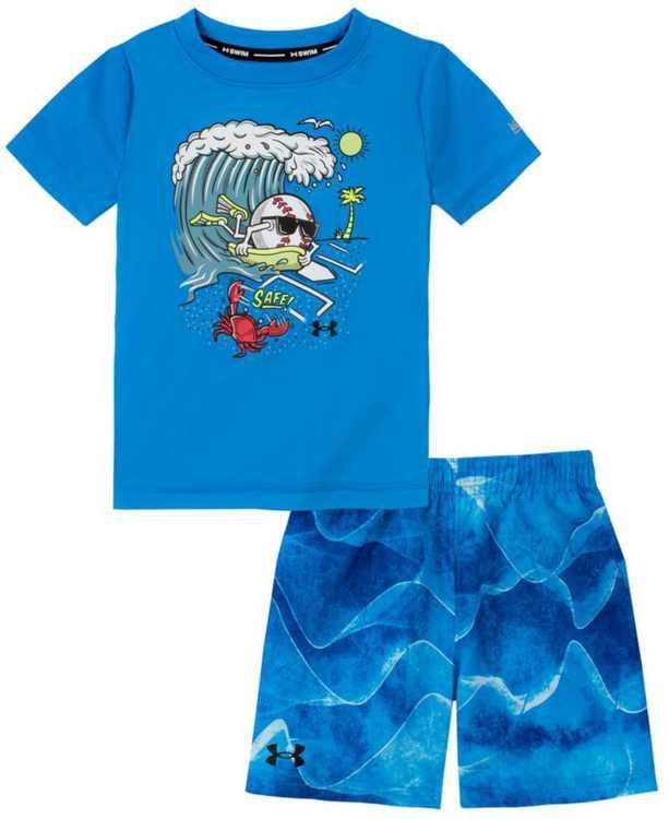 Little Boys Soundwaves T-shirt and Swim Shorts Set