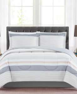 CLOSEOUT! Grace 3-Pc. Reversible Stripe Full/Queen Comforter Set, Created for Macy's