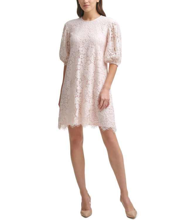 Lace Balloon-Sleeve Dress