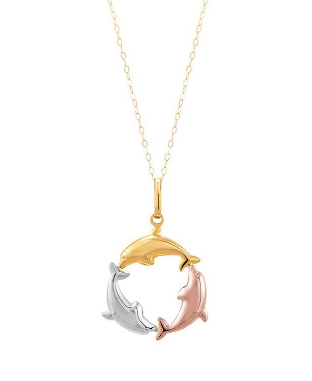 """Polished Dolphin 18"""" Pendant Necklace in 14K Yellow, White & Rose Gold"""