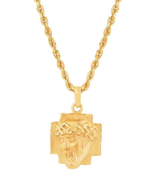 """Christ Head 22"""" Pendant Necklace in 10K Yellow Gold"""