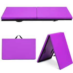 Costway 6 Ft. x 2 In., Gymnastics Mat Thick Two Folding Panel, Gym Fitness Exercise Purple