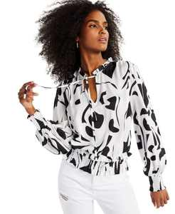 INC Printed Smocked-Waist Long-Sleeve Blouse, Created for Macy's