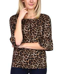 Animal-Print 3/4-Flare-Sleeve Top, Regular & Petite