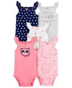 Baby Girls Tank Bodysuits, Pack of 5