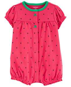 Baby Girls Strawberry Snap-Front Romper