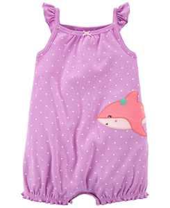 Baby Girls Shark Snap-Up Romper