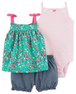 Baby Girls Floral Little Short Set, 3 Pieces